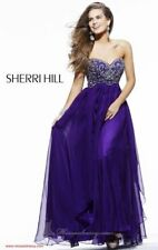 Sherri Hill 3802 Purple Strapless Evening Gown - size 8