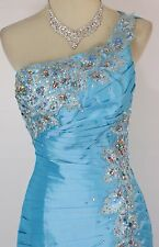Size 10 Tony Bowls $500 Turquoise Mermaid Shoulder Long Gown Prom Formal Dress