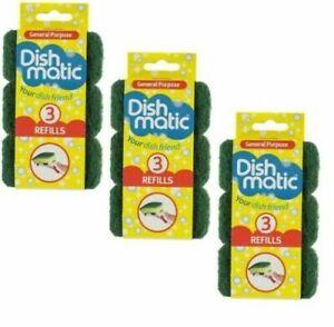 9 x General Purpose Green Dishmatic Sponge Scourer Replacement Refill Heads NEW