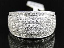 Men's 14k White Gold Over 13 MM Round Cut White Diamond Pave Wedding Ring 2.25Ct
