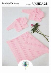 "UKHKA 211 Baby Cardigans & Blanket Knitting Pattern In DK 14-22"" (36-56cm)"