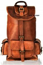 Unisex Women's Leather Padded Strap Backpack Computer Notebook School Travel Bag