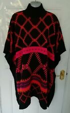❤ SOMERSET by ALICE TEMPERLEY One Size Black Orange Pink High Neck Batwing Cape