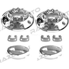 "Truck Triple Chrome 22.5"" Front Wheel Simulator Liner+Center Caps Cover 2pc"