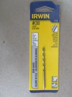 """3 Pieces #38 .1015"""" 2.58MM Drill Bits by Irwin  #81138  NEW"""