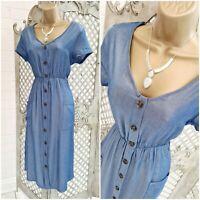 Pretty 💋 Blue Chambray Denim Look Mock Button Front Midi Dress UK M Summer