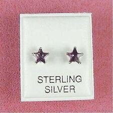 Sterling Silver - 6mm Star CZ Amethyst Earrings (SE141)