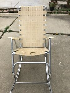 Vintage 1960s Aluminum Webbed Outdoor Patio Lawn Chair Folding Rocking Cream