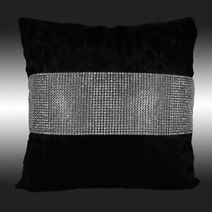 SHINY BLING SILVER BLACK THICK VELVET DECO CUSHION COVER THROW PILLOW CASE 17""