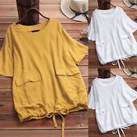 Womens Short Sleeve Baggy T-Shirt Summer Tunic Tops Loose Blouse Tee Plus Size