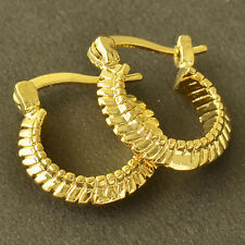 Yellow Gold Plated Womens Small Hoop Earrings Clip On Earring Vintage