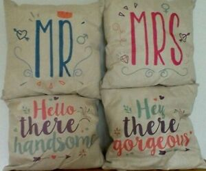 """MR & MRS,HELLO THERE HANDSOME,HEY THERE GORGEOUS 17""""X17"""" CUSHION COVERS"""