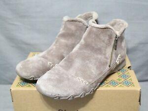 SKECHERS BIKER Womens zip up flat mushroom EARTHY CHIC ankle boot size 9.5 M New