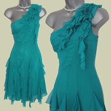Karen Millen Turquoise Green Blue Silk Ruffle One Shoulder Dress UK10  EU38 £160