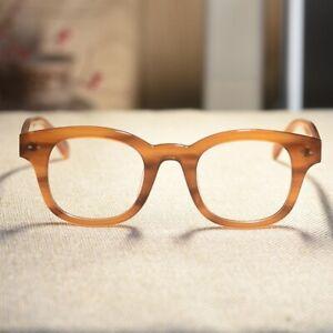 Retro mens solid acetate eyeglasses womens vintage blonde Rectangular RX glasses