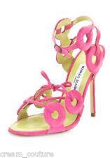 Manolo Blahnik Dos Porc Velour Fuxia Pink Suede Strappy Sandals 40.5 NEW $875