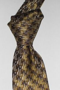 """$250 NEW TOM FORD Gold w/ brown houndstooth 3.75"""" men's XL woven silk tie ITALY"""