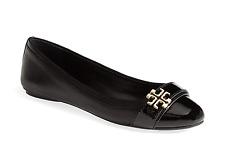 Tory Burch Eloise Ballet Flat Ballerina Patent Cap Toe Gold Logo Shoe 8 -38