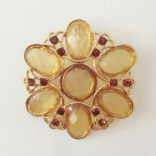 Crystals Pendant Charm Brooch Pin Br1474A New Golden Flower Citrine Peach Round