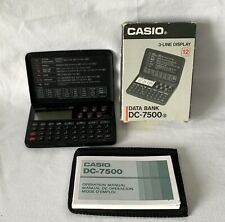 Vintage Working Casio 3-Line Display DATA BANK DC-7500 Calculator Organiser +Box