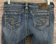 "Silver Jeans Frances 18"" Womens Jeans Boot Cut Med Wash Low Rise Size 28 x 32"