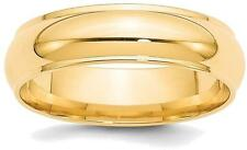 14K Yellow Gold 6mm Half Round with Edge Band Ring