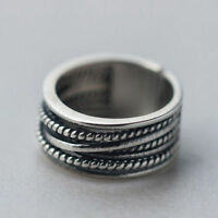 Men Women 925 Solid Sterling Thai Silver Ring Adjustable Open Jewelry