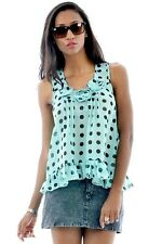 LADIES WOMENS HOLIDAY BEACH  SUMMER PARTY SPOTTY CAMI TOP SWING VEST   F6