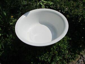 Large Vintage White Enamel Wash Bowl Display Prop 36 in across