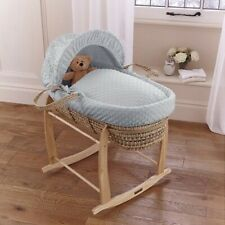CLAIR DE LUNE PALM MOSES BASKET WITH GREY DIMPLE SOFT FABRIC NEW
