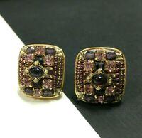 Vtg MICHAL GOLAN Square Purple Rhinestone & Cabochon Gold PL Clip Earrings XX94E