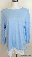 J. Jill M LOVE LINEN Sky Blue & White Tunic Oversized Lagenlook Stretch Knit Top