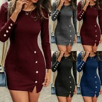 Women's Long Sleeve Bodycon Knitted Mini Dress Casual Club Party Sweater Dresses