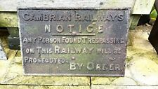 More details for cambrian railway 'no trespass' sign, 19th century