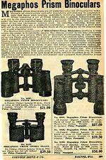 1929 small Print Ad of Megaphos Prism Binoculars Opera Glasses stereoscopic