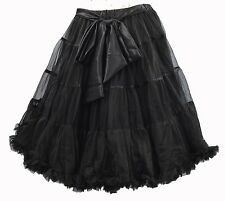 "NEW BLACK SKIRT / PETTICOAT 22"" LONG VINTAGE UNDERSKIRT BOW S/M NET TUTU BUSTLE"