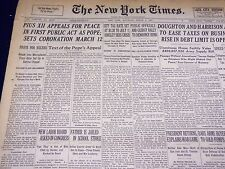 1939 MARCH 4 NEW YORK TIMES - PIUS XII APPEALS FOR PEACE - NT 3053