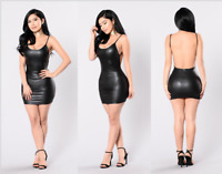 Women Sexy Backless Leather Bodycon Dress Party Club Cocktail Stretch Mini Dress