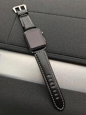 qualité Bracelet De Montre En Cuir Noir pour Apple 42mm Série 1 2 Argent