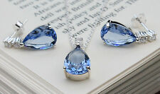 925 solid Sterling silver Blue Cubic Zirconia pendant chain and earrings set