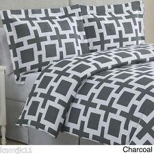 NEW 3 PIECE Echelon TWIN DUVET COVER & SHAMS Set Gray Charcoal White LINK Design