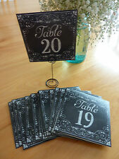 "SET OF # 1-20 CHALKBOARD LOOK PAPER TABLE NUMBERS (5"" SQUARE)~NEW IN BAG~WEDDING"