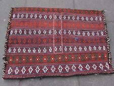 Old Hand Made Persian Oriental Wool Red Colourful Tribal Kilim Bag 115x80cm