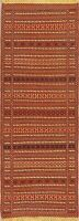 Geometric Striped Turkish Kilim Runner Rug Hand-Woven Oriental Wool Carpet 2x7