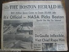 February 1, 1964 Boston Herald Newspaper: NASA Picks Boston, RFK, Moon Rocket +
