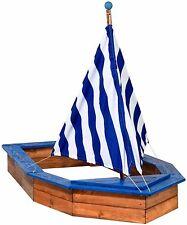Sandkasten in der Form eines Segelbootes, Sandkiste Buddelkiste Holz Schiff Boot
