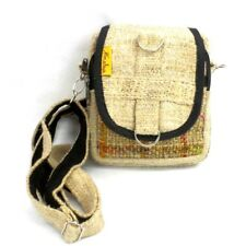 Natural Hemp Bag Boho Hippie Crossbody Shoulder Purse with Recycled Silk Accents
