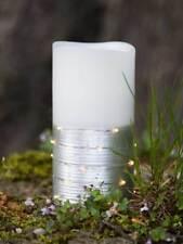 LED Wachskerze Silber WEISS 10x7 5cm Echtwachs kabellos Beleuchtung DEKO