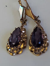 "10k Yellow Gold Antique 11.5mm Mexican Alexandrite Pear Drop Earrings 1.5"" 4.8g"