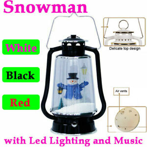 Black Musical Snow Globe Christmas Snowing Light Christmas Decor Barn Lantern